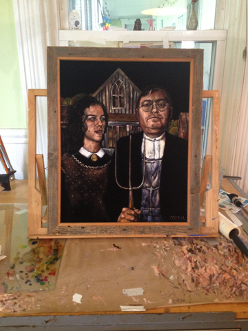a custom, black velvet take on american gothic by gil corral, (c) 2013