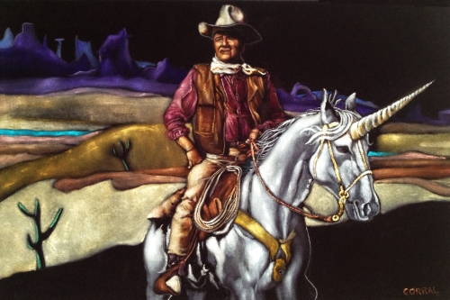 Black Velvet John Wayne Riding a Unicorn by Gil Corral 2013