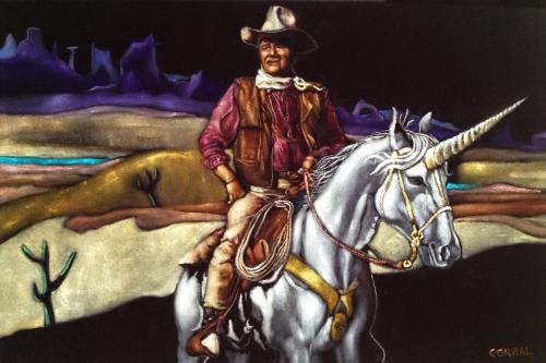 Black Velvet John Wayne Riding a Unicorn by Gil Corral 2013